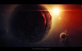 Обои планета, солнце, спутники