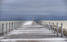 Картинка пейзаж, мост, маяк