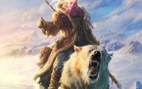 Картинка снег, горы, медведь, мужчина, копье, Арт, охотник
