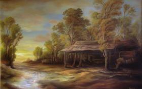 Обои вода, деревья, пейзаж, дом, ручей, арт, хижина