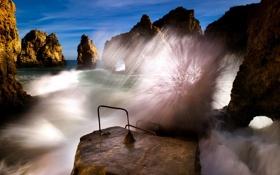 Картинка море, пейзаж, природа, скалы, волна
