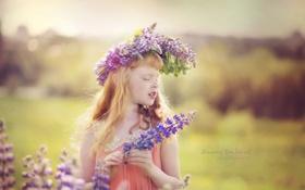 Картинка цветы, ребенок, девочка, венок