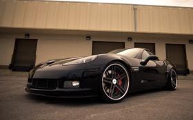 Обои черный, фары, z06, Chevrolet corvette