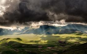 Картинка небо, облака, свет, тучи, поля, Италия