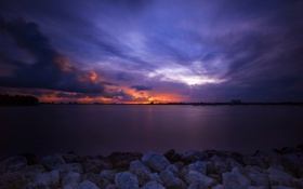 Картинка закат, океан, вечер, sunset, майами, miami