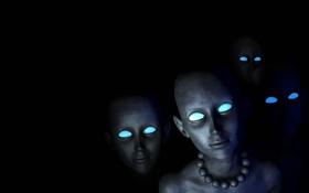 Картинка глаза, фон, черный, голубые, инопланетяне