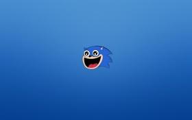 Картинка минимализм, голова, ежик, синий фон, соник, Sonic, счастливая морда