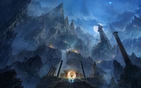 Картинка горы, ночь, луна, арт, лестница, храм, ступеньки
