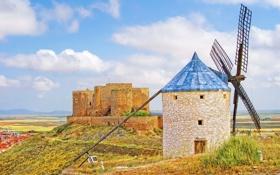 Обои небо, облака, замок, холмы, башня, Испания, ветряная мельница