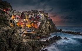 Картинка звезды, ночь, город, Италия, Italy, Manarola, Регион Лигурия
