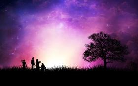 Обои звезды, люди, дерево, Закат