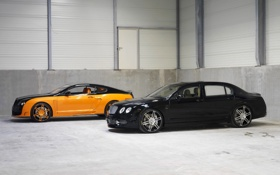 Картинка Авто, Bentley, Continental, Черный, Желтый, Flying, Вид сбоку