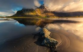 Обои природа, река, гора, Исландия