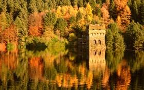 Картинка лес, осень, река, крепость, вода, озеро, пристань