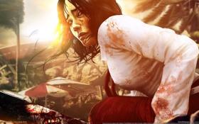 Картинка кровь, зомби, мачете, Dead Island