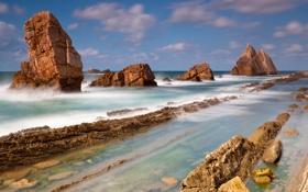 Обои море, камни, скалы, морской пейзаж