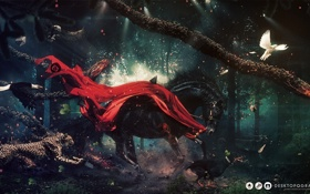 Картинка птицы, звери, конь, сова, голубь, собака, олень