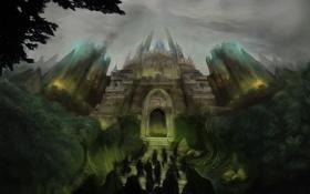 Картинка karamissa, ступеньки, фигуры, крепость, замок, люди, деревья