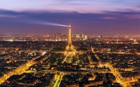 Обои Эйфелева, башня, вечер, огни, город, дома, Париж