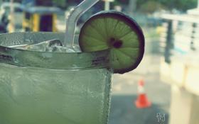 Обои трубочка, лайм, лимонад, фрукт, lemonade, напиток, лед