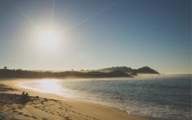 Картинка солнце, океан, море, песок, пляж, берег, прибой