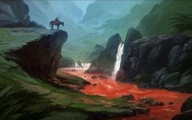 Обои горы, река, камни, обрыв, лошадь, водопад, арт