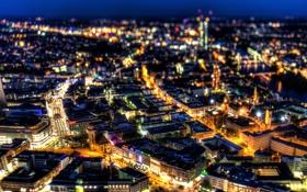 Обои ночь, город, огни, здания, дома, Германия, панорама