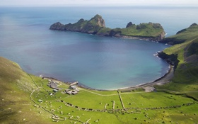 Картинка море, трава, фото, берег, поселение