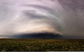 Обои поле, тучи, шторм, природа, стихия, буря, панорама
