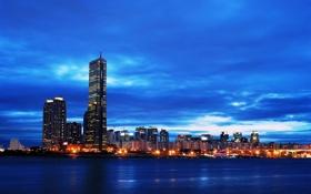 Картинка огни, небоскребы, Сеул, Seoul, Южная Корея