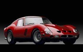 Обои красный, Феррари, Ferrari, суперкар, полумрак, классика, GTO