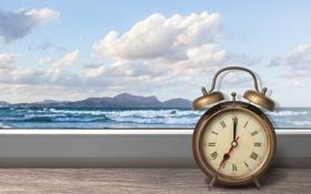 Обои море, облака, часы, окно, будильник