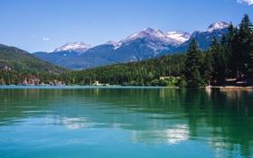 Картинка лес, горы, озеро, берег, Канада, Lake Whistler