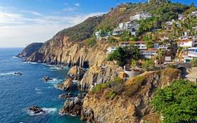 Картинка море, горы, город, Мексика, городок, Mexico, дома.