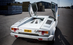 Обои белый, Lamborghini, суперкар, Countach, задок, 1988, 25 Anniversary