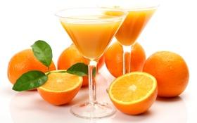 Обои апельсины, бокалы, сок, белый фон, напиток, фрукты, листочки