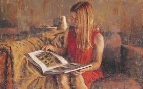 Обои девушка, лицо, комната, диван, волосы, арт, рисунки