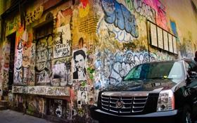 Обои машина, Переулок, графити, угол дома