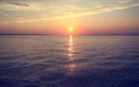 Обои закат, Вода, река, солнце, море