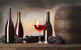 Обои вино, бутылка, виноград, бочка, wine, grapes, bottle