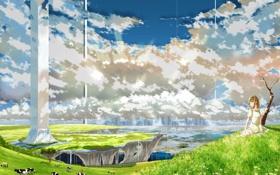Картинка животные, трава, девушка, облака, природа, аниме, коровы