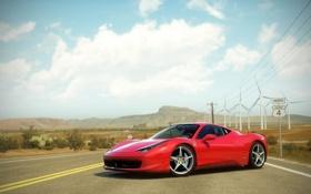 Обои дорога, машина, спортивная, ferrari, красная, сша, лэп