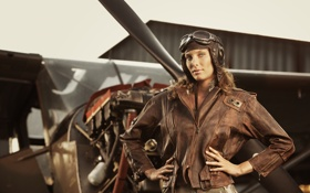 Картинка пилот, Девушка, куртка, самолет