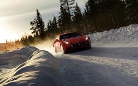 Картинка зима, дорога, car, машина, лес, небо, солнце