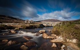 Картинка мост, река, камни, холм, руины