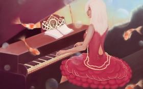 Обои девушка, рыбки, музыка, платье, арт, пианино, живопись