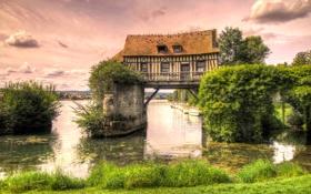 Картинка небо, деревья, дом, река, лодка, опора