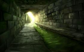 Обои вода, свет, камень, туннель, кладка, речка, солнечные лучи