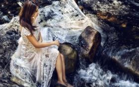 Картинка лето, девушка, река, азиатка