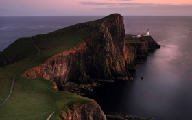 Картинка море, небо, скалы, маяк, на краю